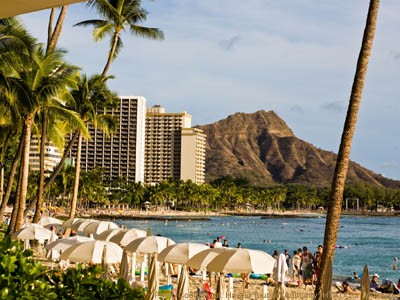 AUTH - HNL - Beach view of Diamond Head
