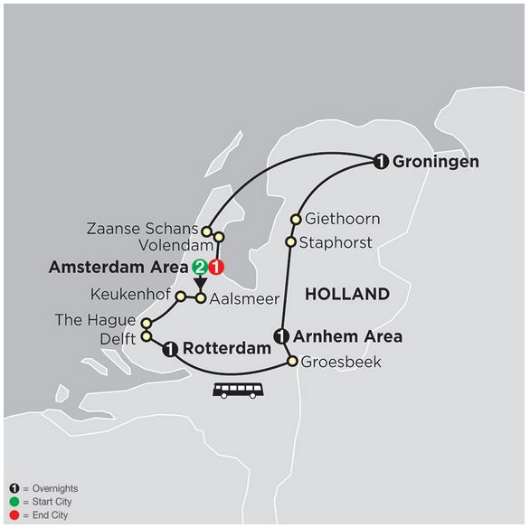 Best Netherlands Cosmos tour map